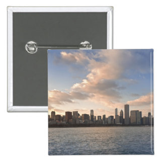 The sun sets over Lake Michigan and the Chicago Pin