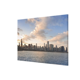The sun sets over Lake Michigan and the Chicago Canvas Print