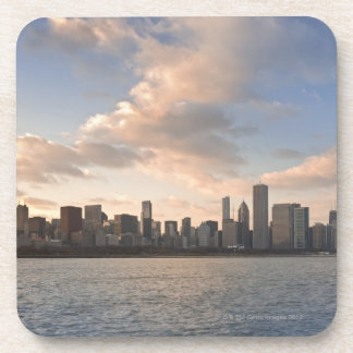 The sun sets over Lake Michigan and the Chicago Coaster