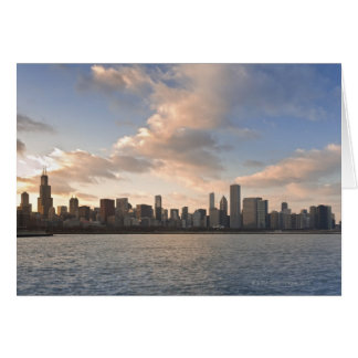 The sun sets over Lake Michigan and the Chicago Greeting Card