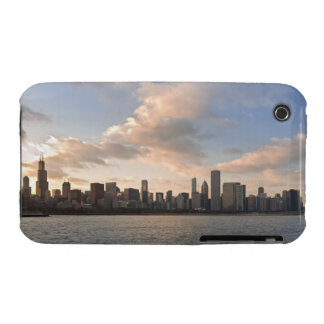 The sun sets over Lake Michigan and the Chicago iPhone 3 Case-Mate Cases