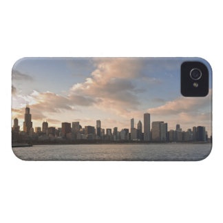 The sun sets over Lake Michigan and the Chicago iPhone 4 Cover