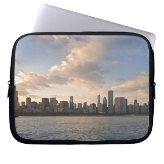 The sun sets over Lake Michigan and the Chicago Laptop Computer Sleeves