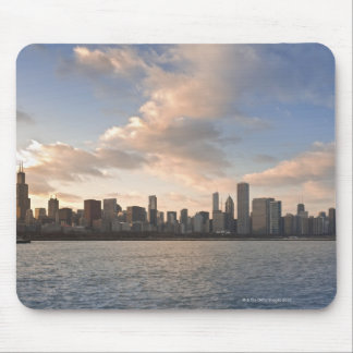 The sun sets over Lake Michigan and the Chicago Mouse Pad