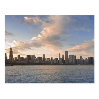 The sun sets over Lake Michigan and the Chicago Postcard