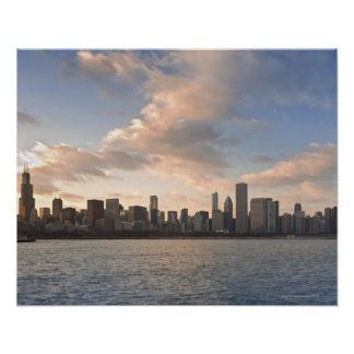 The sun sets over Lake Michigan and the Chicago Poster