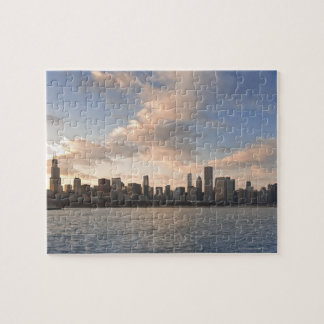 The sun sets over Lake Michigan and the Chicago Jigsaw Puzzle