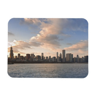 The sun sets over Lake Michigan and the Chicago Rectangular Photo Magnet