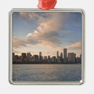 The sun sets over Lake Michigan and the Chicago Silver-Colored Square Decoration