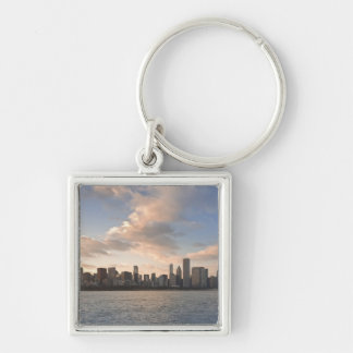 The sun sets over Lake Michigan and the Chicago Silver-Colored Square Key Ring