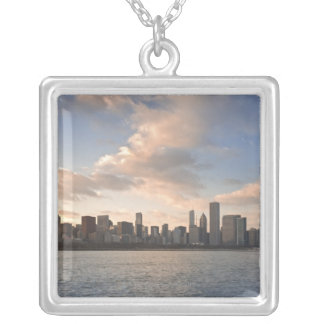 The sun sets over Lake Michigan and the Chicago Silver Plated Necklace