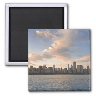 The sun sets over Lake Michigan and the Chicago Square Magnet