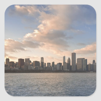 The sun sets over Lake Michigan and the Chicago Square Sticker