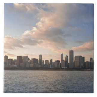 The sun sets over Lake Michigan and the Chicago Large Square Tile