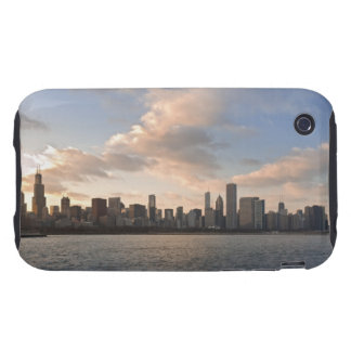 The sun sets over Lake Michigan and the Chicago Tough iPhone 3 Cover