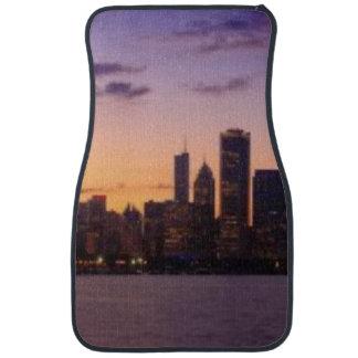 The sun sets over the Chicago skyline Car Mat