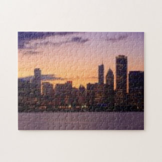 The sun sets over the Chicago skyline Jigsaw Puzzle