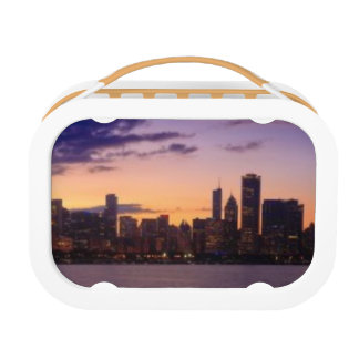 The sun sets over the Chicago skyline Lunch Box
