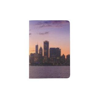 The sun sets over the Chicago skyline Passport Holder