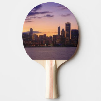 The sun sets over the Chicago skyline Ping Pong Paddle