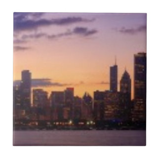 The sun sets over the Chicago skyline Tile
