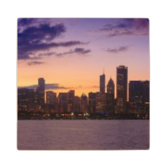 The sun sets over the Chicago skyline Wood Coaster