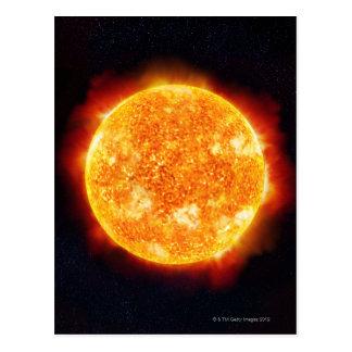 The Sun showing solar flares against a star Postcard