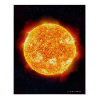 The Sun showing solar flares against a star Poster