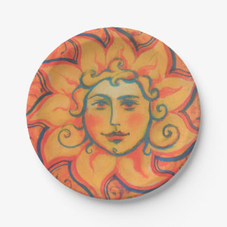 The Sun, sunface, yellow orange red, fantasy art Paper Plate