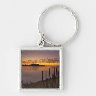 The sunrise over Isla Danzante in the Gulf of 2 Silver-Colored Square Key Ring