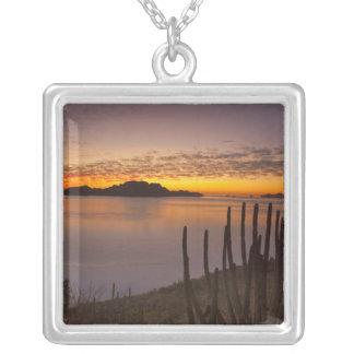 The sunrise over Isla Danzante in the Gulf of 2 Square Pendant Necklace