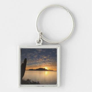 The sunrise over Isla Danzante in the Gulf of Silver-Colored Square Key Ring