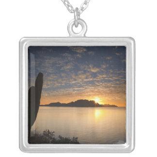 The sunrise over Isla Danzante in the Gulf of Square Pendant Necklace