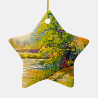The sunset over the river christmas ornament