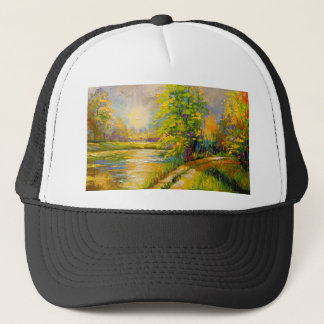 The sunset over the river trucker hat