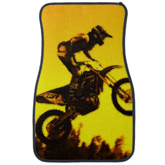 """The Sunset Ride"" Motocross Rider Car Mat"