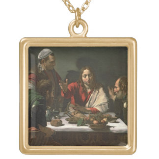 The Supper at Emmaus, 1601 (oil and tempera) Gold Plated Necklace