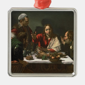 The Supper at Emmaus, 1601 (oil and tempera) Silver-Colored Square Decoration
