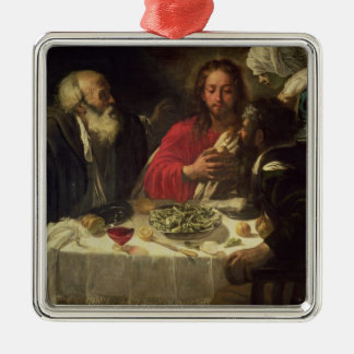 The Supper at Emmaus, c.1614-21 Silver-Colored Square Decoration