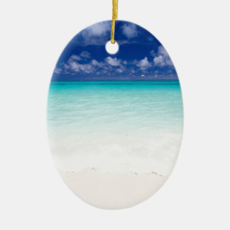 The Surf in tropical beach and Okinawa Japan Ceramic Oval Decoration