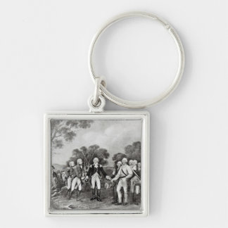 The Surrender of General Burgoyne Saratoga Silver-Colored Square Key Ring