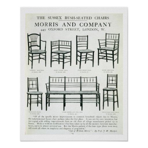 The Sussex Rush-Seated Chairs, made by Morris and Print