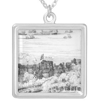The Swan Theatre on the Bankside as it Silver Plated Necklace
