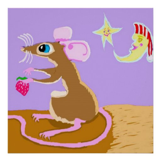 The Sweet Rat And Her Strawberry By Moonlight Poster