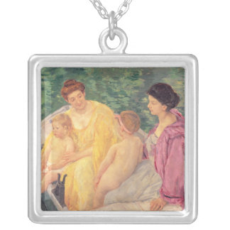 The Swim or Two Mothers & Their Children on a Silver Plated Necklace