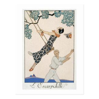 The Swing, 1923 (pochoir print) Postcard