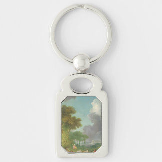 The Swing by Jean-Honore Fragonard Silver-Colored Rectangle Key Ring