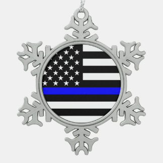 The Symbolic Thin Blue Line American Flag Pewter Snowflake Decoration