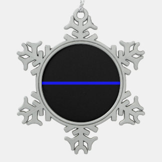 The Symbolic Thin Blue Line Graphic Snowflake Pewter Christmas Ornament