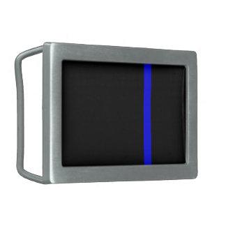 The Symbolic Thin Blue Line on a black decor Belt Buckle